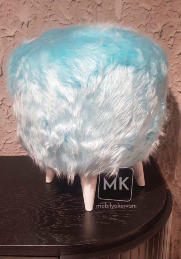 mavi peluş puf