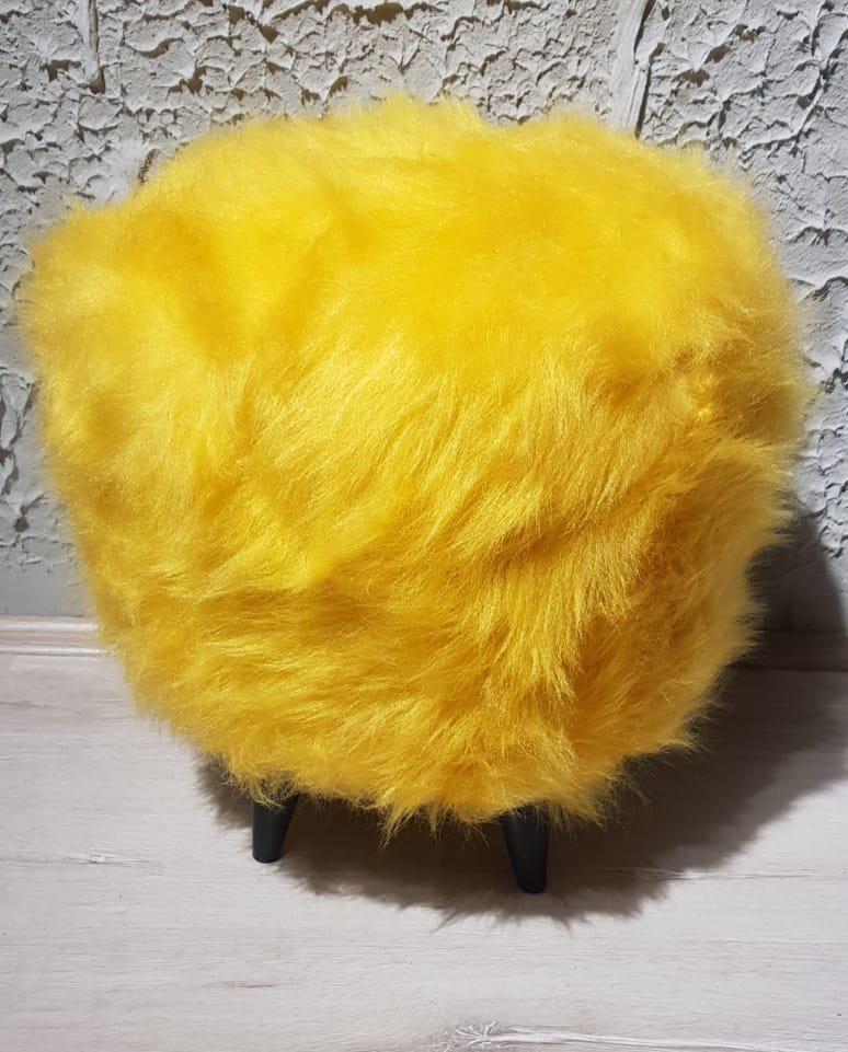 sarı peluş puf